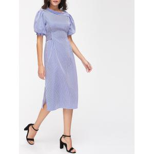 Striped High Slit Puff Sleeve Midi Dress