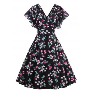 Flounce Sleeve Vintage Print Midi Dress - Colormix - S
