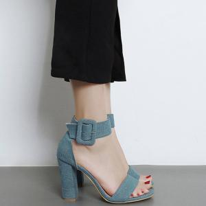 Ankle Strap Denim Vamp Sandals - Blue - 39