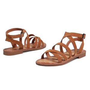 Flat Heel Cross Straps Sandals - BROWN 38