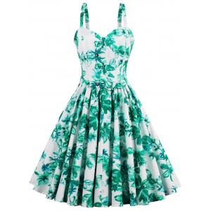 A Line Mini Floral Pleated Dress - Green - 2xl