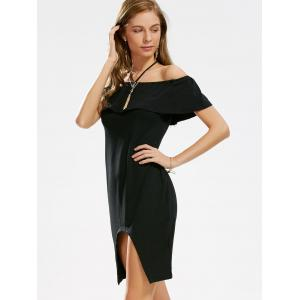 Asymmetric Ruffle Off The Shoulder Dress - BLACK S
