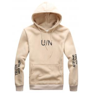 Graphic Print Hooded Drawstring Hoodie - Light Khaki - Xl