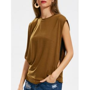 Crew Neck Side Cut Out Casual Tee