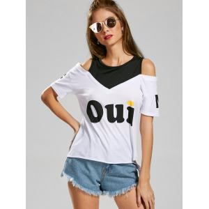 Two Tone Graphic Cold Shoulder Tee -