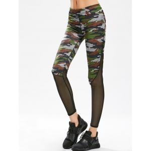 Mesh Panel Gym Leggings - Camouflage - L