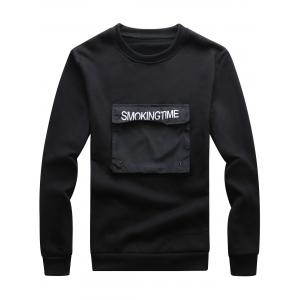 Pocket Applique Crew Neck Graphic Print Fleece Sweatshirt - Black - L