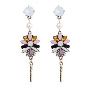 Faux Pearl Crystal Resin Floral Earrings