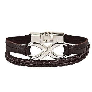Faux Leather Braid Infinite Rope Bracelet