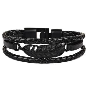 Faux Leather Braid Rope Feather Bracelet - Black