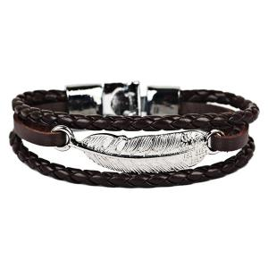 Faux Leather Braid Rope Feather Bracelet - Brown