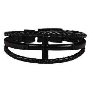 Faux Leather Braid Rope Cross Bracelet