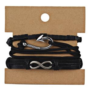 PU Leather Rope Infinite Bracelet Set -