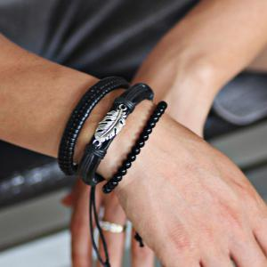 Faux Leather Rope Beaded Feather Bracelet Set - Black