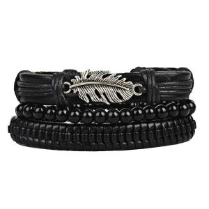Ensemble de bracelet en feutre en cuir Faux Leather - Noir