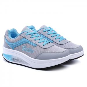 Breathable Colour Block Mesh Athletic Shoes - Gray And Blue - 38