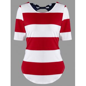 Color Block Striped Bowknot T-Shirt