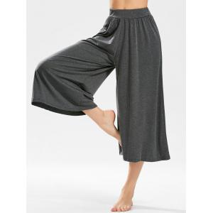 High-waisted Cropped Wide Leg Pants - Deep Gray - One Size