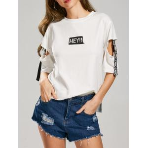 Letter Hey Print Cut Out Sleeve T-Shirt - White - M