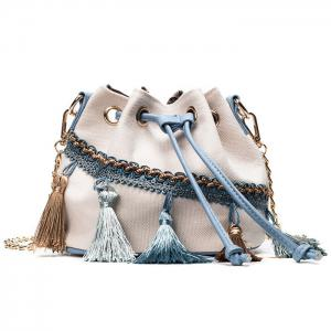 Canvas Tassel Chain Bucket Bag - White