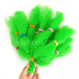 Long Fluffy Afro Kinky Cheveux Synthétiques Bouclés - Vert