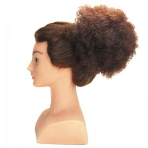 Shaggy Afro Kinky Curly Heat Resistant Synthetic Hair Bun - Dark Auburn Brown