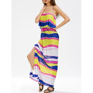 Striped Slit Color Block Maxi Strapless Dress