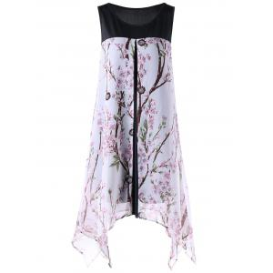 Tiny Floral Sleeveless Plus Size Handkerchief Dress