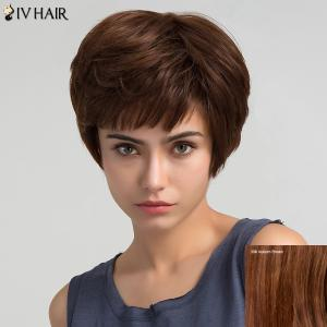 Inclined Bang Short Straight Human Hair Wig