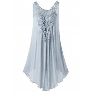 Lace Panel Sleeveless Mini Dress