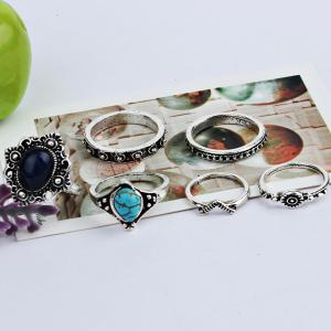 Faux Gem Turquoise Oval Finger Ring Set - SILVER