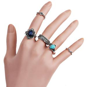 Faux Gem Turquoise Oval Finger Ring Set