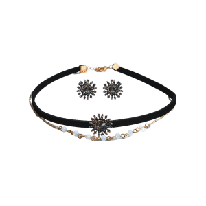 Rhinestone Sun Choker Necklace with Earring Set