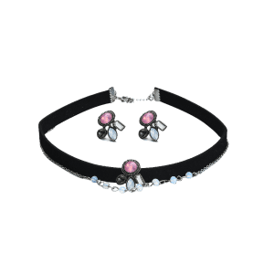 Artificial Gem Choker Necklace and Earring Set