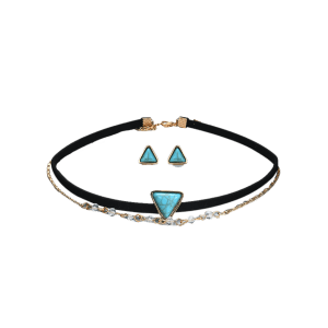 Faux Turquoise Choker Necklace with Earring Set