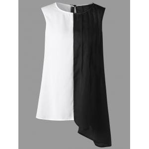 Plus Size Sleeveless Two Tone Asymmetrical Blouse