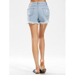 Flower Embroidered Distressed Denim Shorts - DENIM BLUE L
