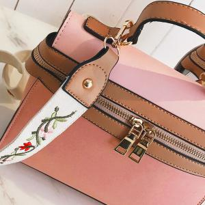 Zip Around Handbag with Embroidery Strap -