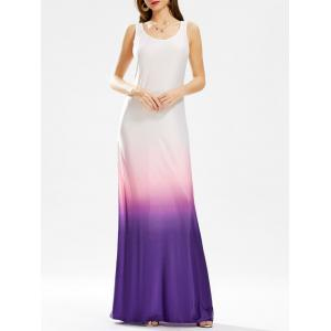 Ombre Floor Length Tank Tall Maxi Dress - Purple - Xl