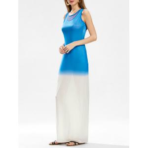 Ombre Mesh Panel Floor Length Dress