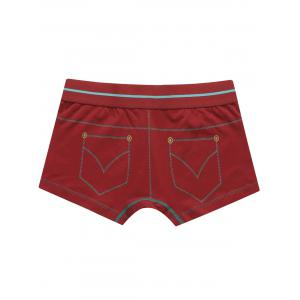 Pocket Print Mid Rise Trunks - Rouge 2XL