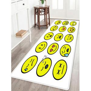 Smile Face Emoticon Pattern Anti-skid Water Absorption Area Rug - Colormix - W24 Inch * L71 Inch
