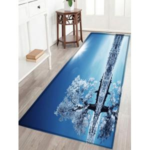 Beach Tree Pattern Anti-skid Water Absorption Area Rug - Blue - W24 Inch * L71 Inch