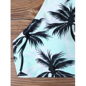 Tropical Print High Neck Bathing Suit - BLUE XL