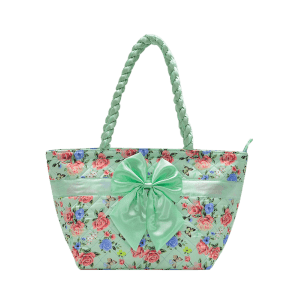 Satin Bowknot Quilted Shoulder Bag - GREEN