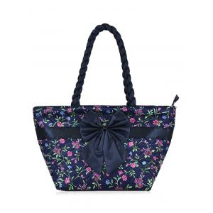 Satin Bowknot Quilted Shoulder Bag - Black - 39