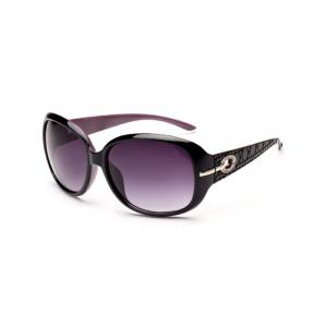 Rhinestone Decoration Anti UV Sunglasses - BLACK PURPLE
