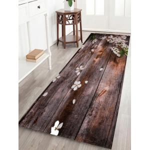 Coral Fleece Vintage Plank Floral Bathroom Rug