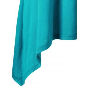 Asymmetric Plus Size Cami Tunic Top - BLUE 2XL