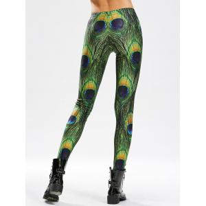 Peacock Feather Print Leggings maigres à haute taille -